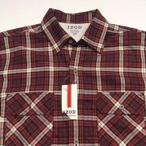 🆕 IZOD Small Red Plaid Long Sleeve Flannel Shirt